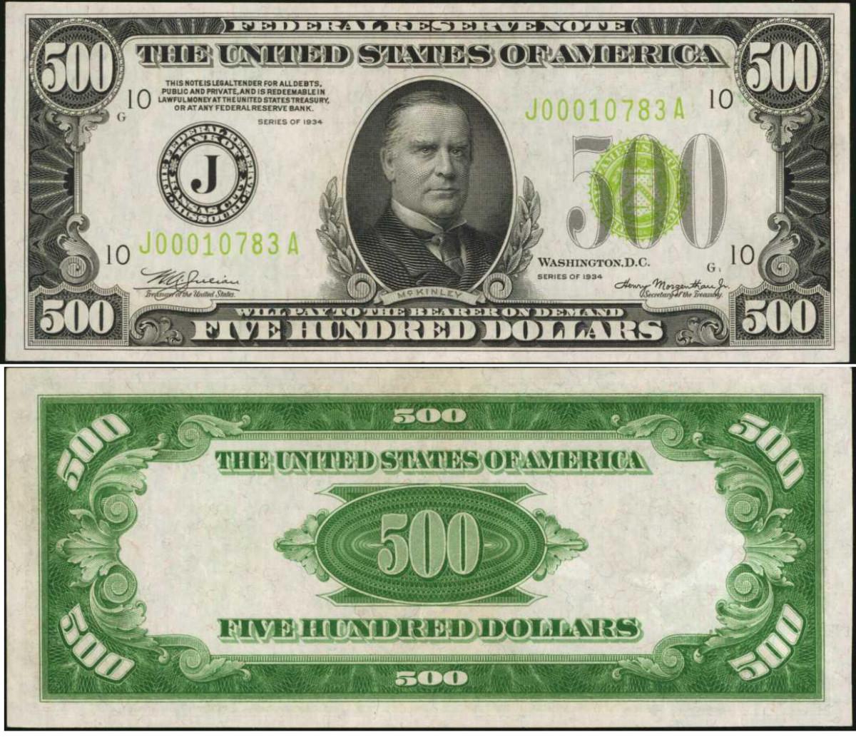 1934 $500 Federal Reserve Note. Kansas City. PMG Gem Uncirculated 66 EPQ.