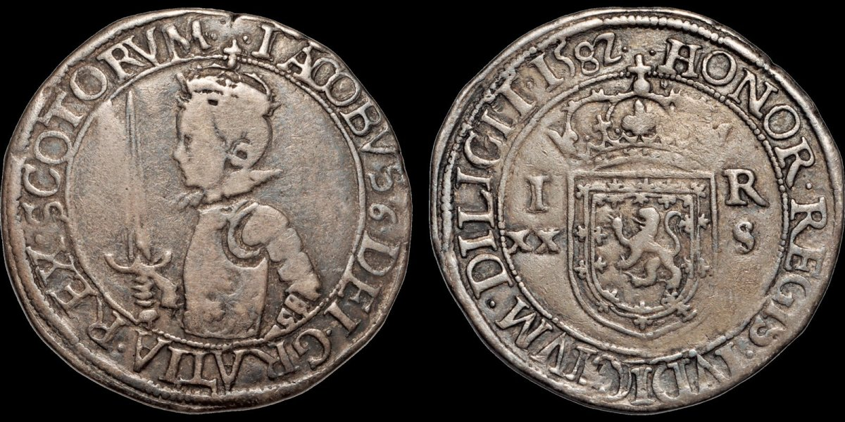 Struck in the name of James VI in 1582 this silver 20 shillings is from his fourth coinage. It's well struck and has a pleasing appearance for a near VF example. At the time of this writing the bidding is only at $550, which is a bargain!
