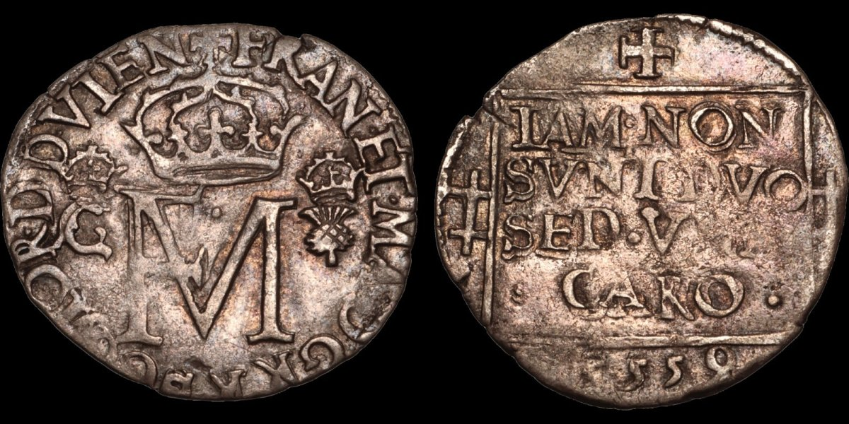 """Struck in 1559 under Mary, this little twelve penny groat features the crowned FM monogram on obverse and an inscription in panel on the reverse that includes NON SVNT from which its common name of """"nonsunt"""" derives. Bidders are showing their appreciation of this lovely piece struck under a pivotal ruler, currently pushing it to $425 off a $350 estimate."""