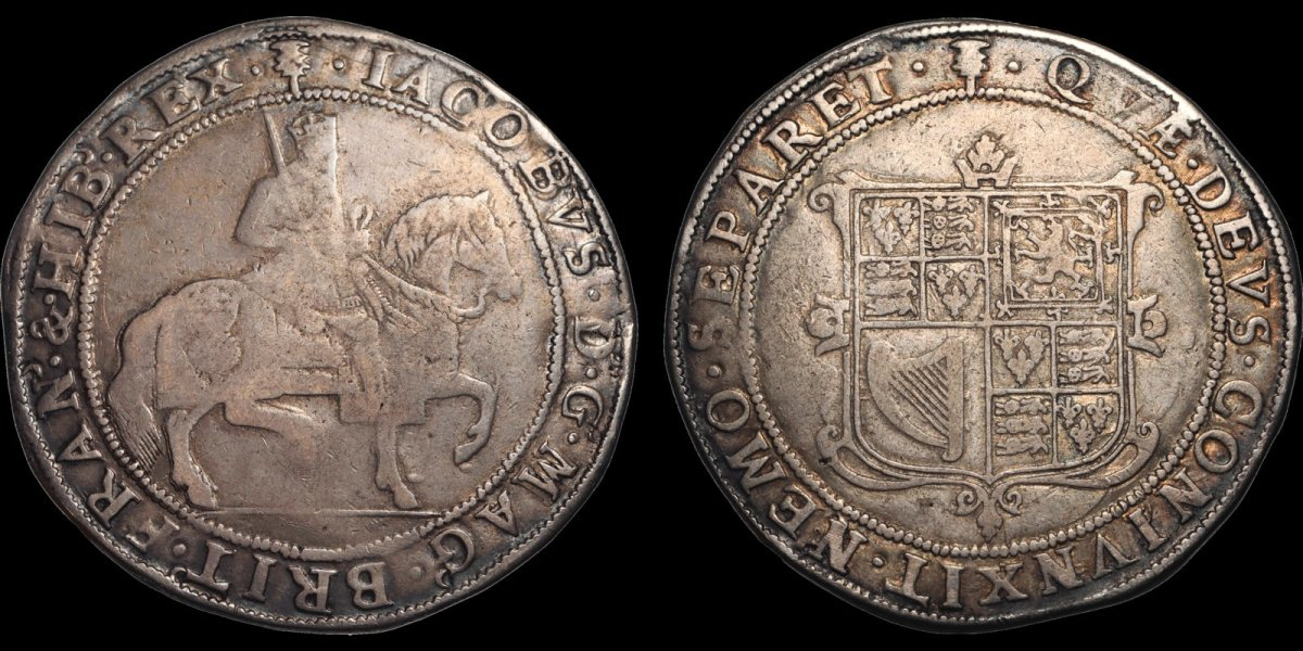 This sixty shillings features Scotland's James VI on horseback. James had been King of Scotland since 1567 as James VI and became King of England and Ireland as James I from 1603 until his death in 1625. Interest in this crown size type is high and bidding, currently at $950, is already over the pre-sale estimate.