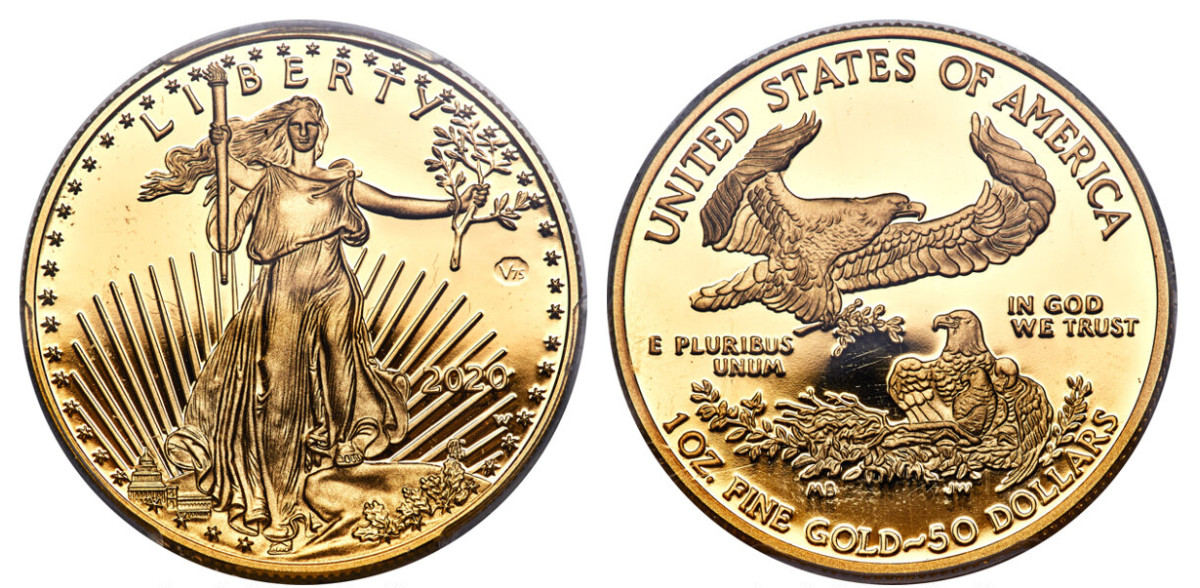 """An example of a """"First Strike,"""" this 2020-W Gold Eagle World War II commemorative is graded PR69 deep cameo. (Image courtesy of Heritage Auctions.)"""