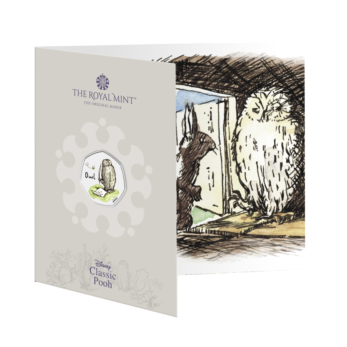 The new Winnie the Pooh Collection Owl 50 pence offers a great trifold card packaging with E.H. Shepard illustrations.