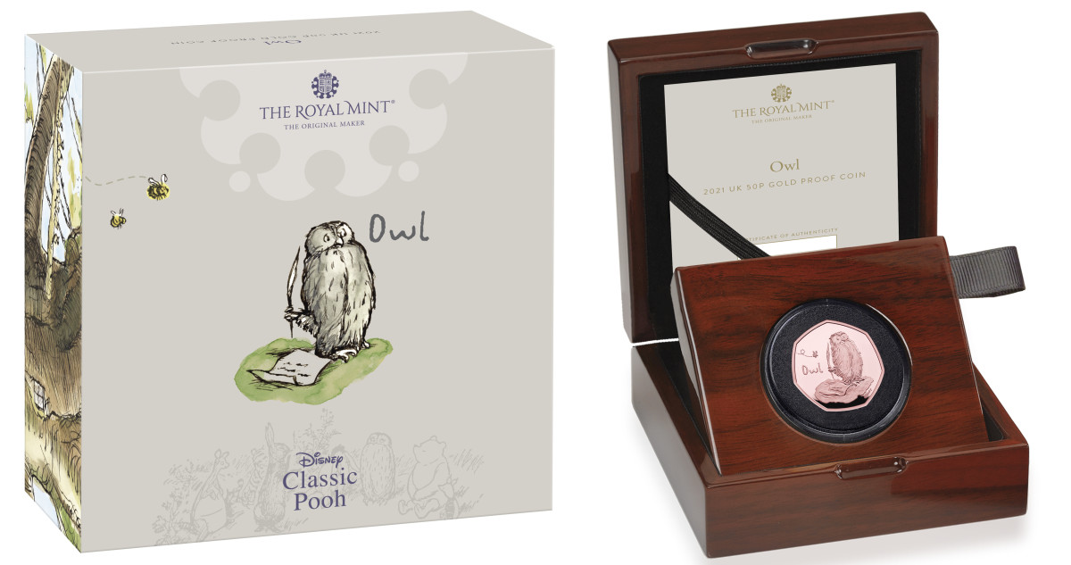 The proof gold version of the Owl 50 pence in its rosewood case and the attractive carton in which this collectible is delivered.