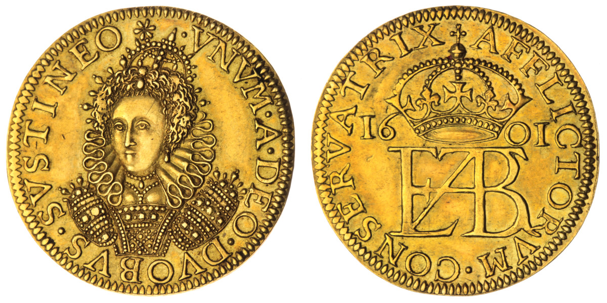 One of two recorded examples this 1601 gold pattern features a unique portrait of Elizabeth I and a crowned monogram reverse, neither of which were ever used on regular issue coinage.