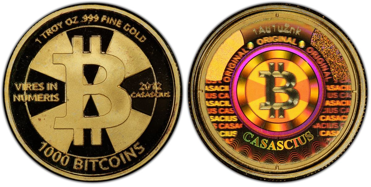 """Forgotten in a desk drawer for years, this 1,000 Bitcoins denomination """"Gold Cas"""" physical coin purchased in Dec. 2011 for $4,905 is now worth over $48 million. Graded PCGS Proof-70 DCAM, it is the world's most valuable numismatic item. (Photo courtesy of GreatCollections.)"""