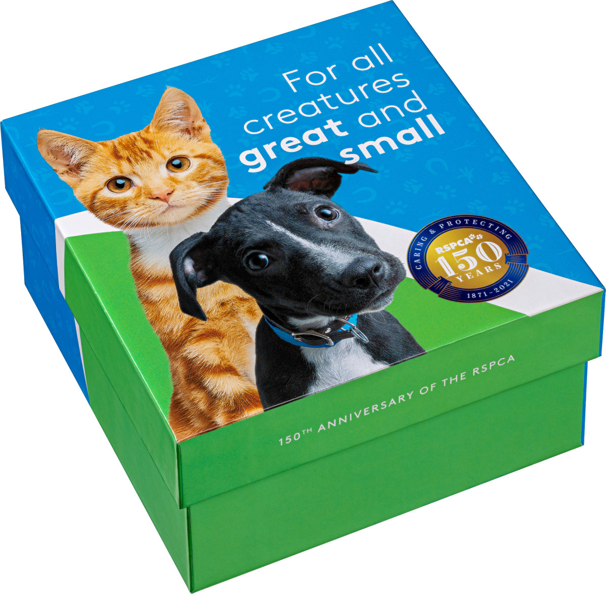 This cute collection box has space inside to hold all of the coins in the RSPCA set and features a cute puppy and kitten on the top.