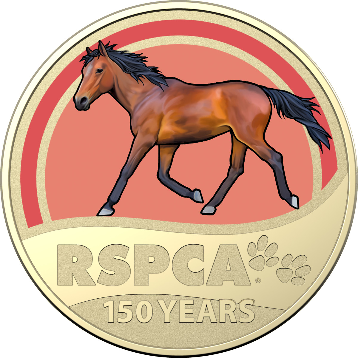 The elegance of the horse is captured in this coin, fitting for the RSCPA, which started as a way to help the welfare of horses.