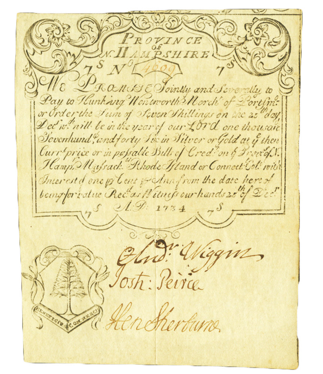 1734 New Hampshire note, signed by Andrew Wiggins, maternal ancestor.