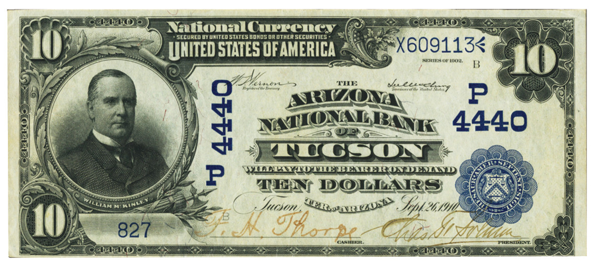 $10 1902 National Bank Note from Arizona.
