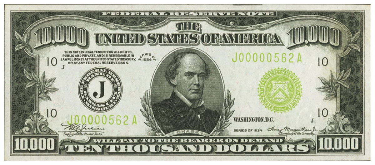 "A 1934 U.S. bank note set the world record for the most valuable type of its kind sold at auction when it brought $384,000 at Heritage Auctions. The $10,000 bill sets the ceiling on the most valuable ""small size"" piece of currency ever sold."