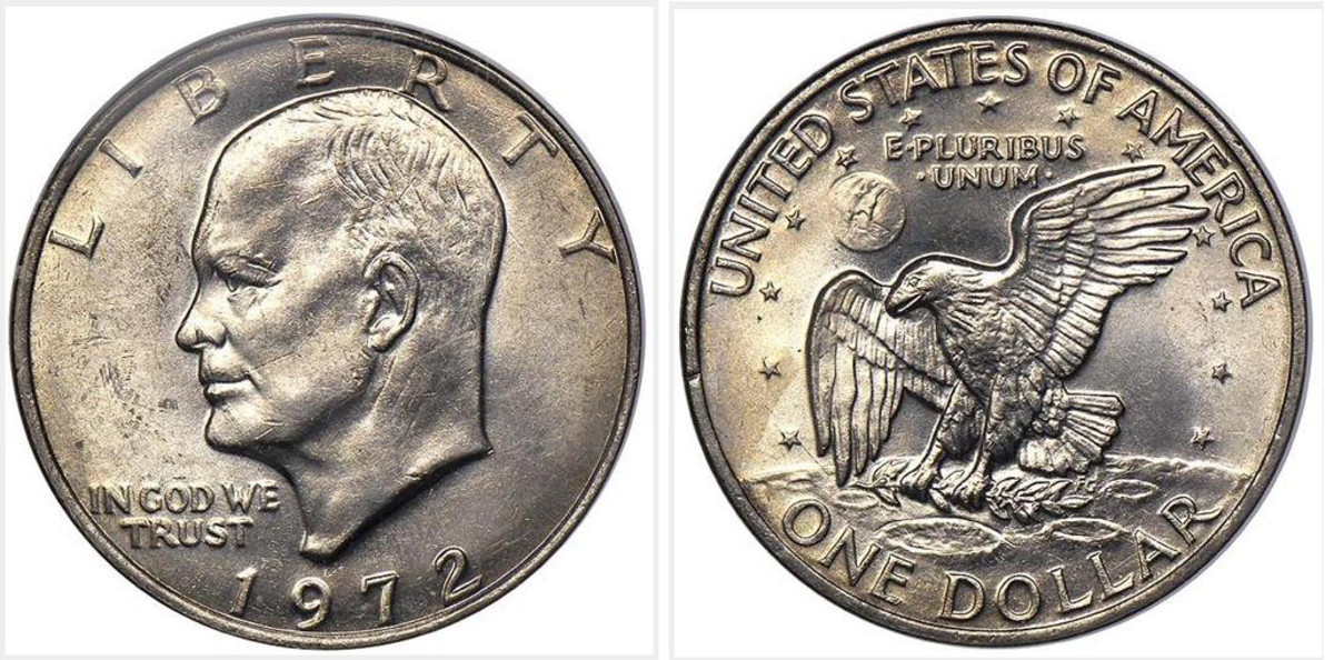 1972 Copper-Nickel Clad Eisenhower dollar