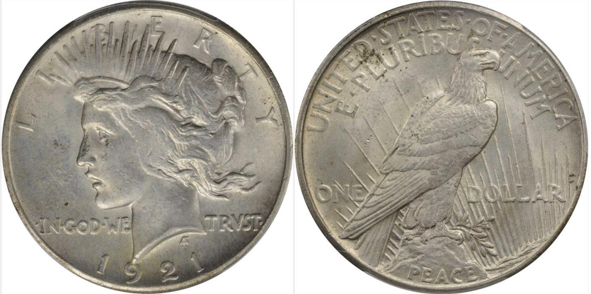 1921 Peace silver dollar, high relief