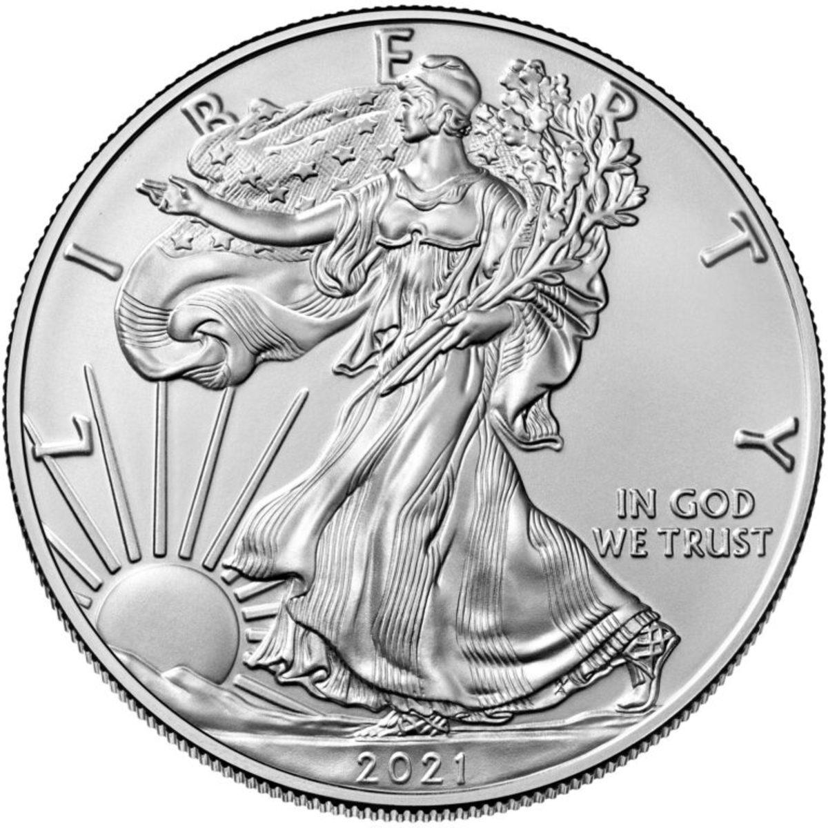 2021 American Eagle silver bullion coin. (Image courtesy U.S. Mint.)
