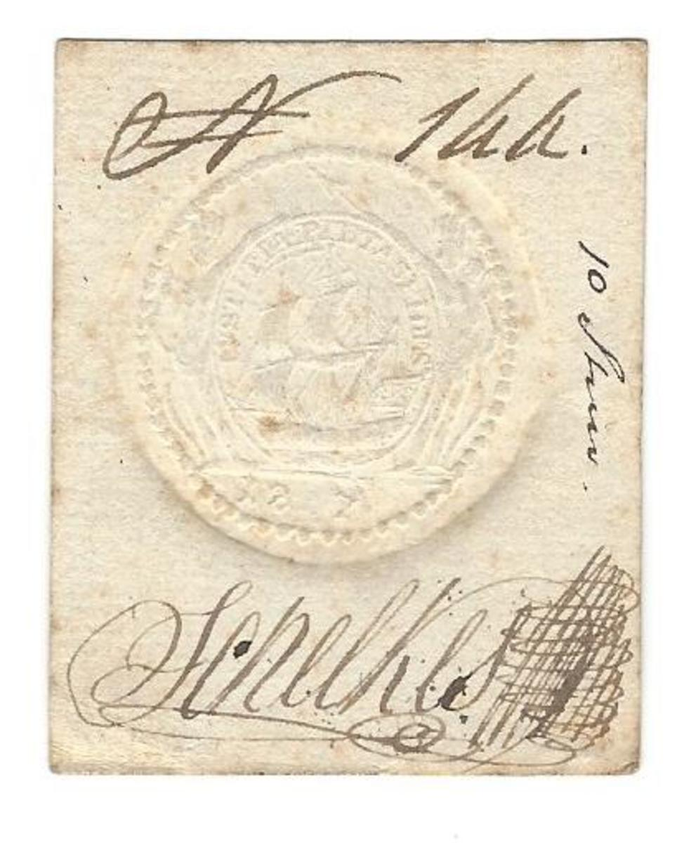 Card money for 10 stivers, 1808 issue. Here are seal and signature of Schelkes, and serial number. Size: 51 x 45mm.