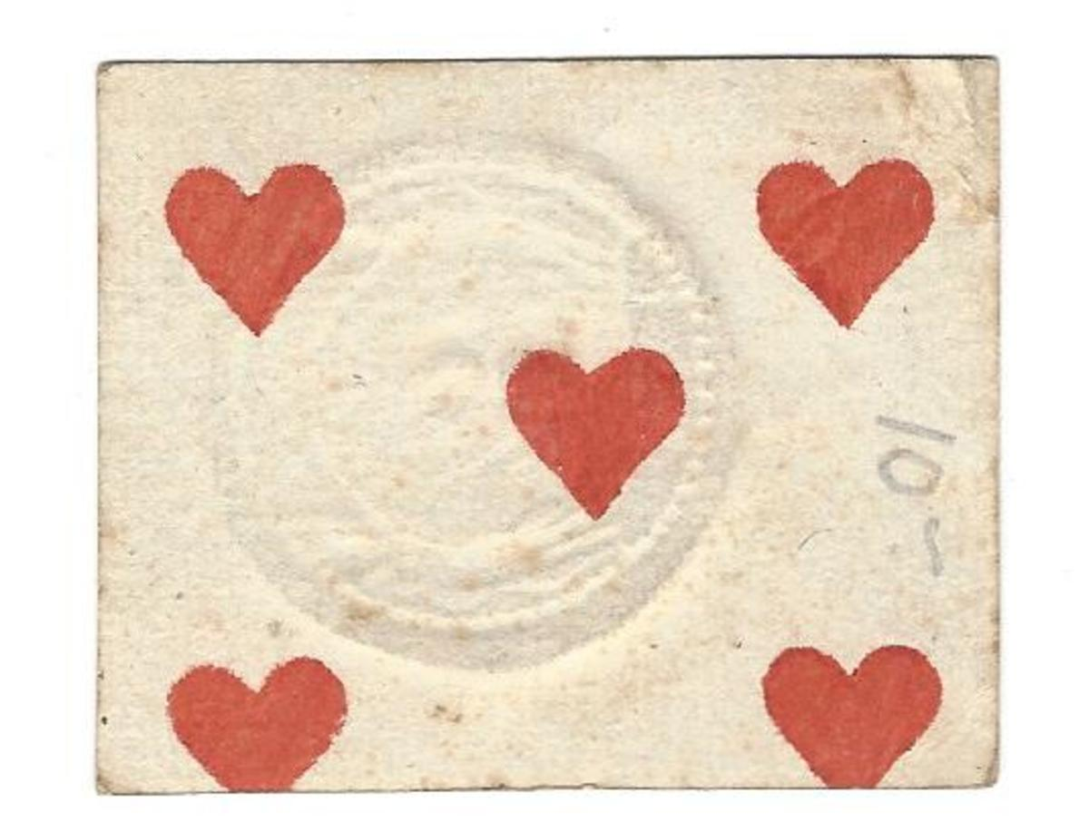 This time the makers used a five of hearts for the 10-stiver piece.
