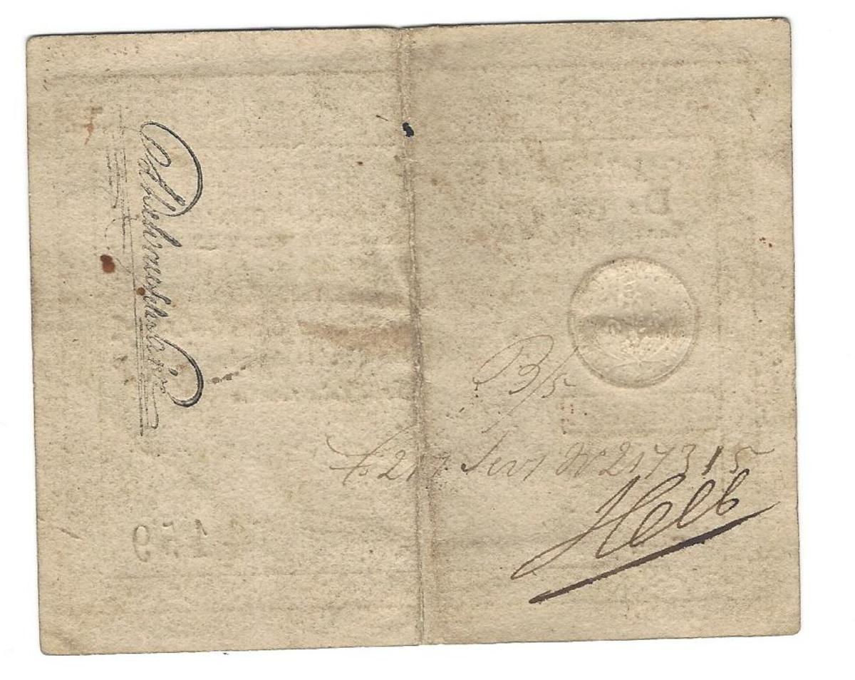 Back of this ½ gulden. There are several official notations found there, as well as two signatures, one printed and the other hand signed.