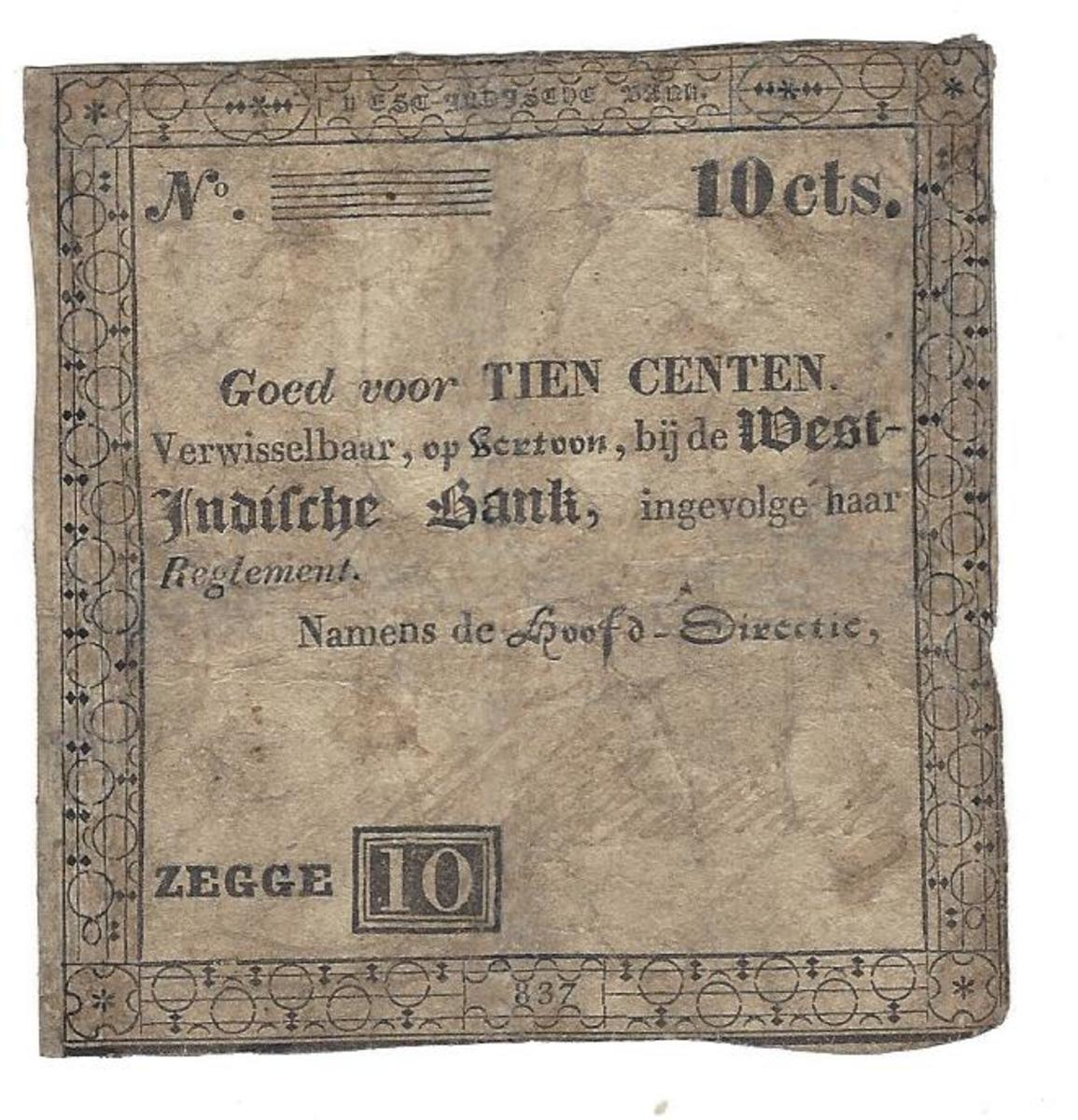 The 10-stiver is the smallest value note of these early PWIB series. This issue is dated 1837. It represents a limited attempt to provide lower denominations for circulation. Size: 75 x 75mm.