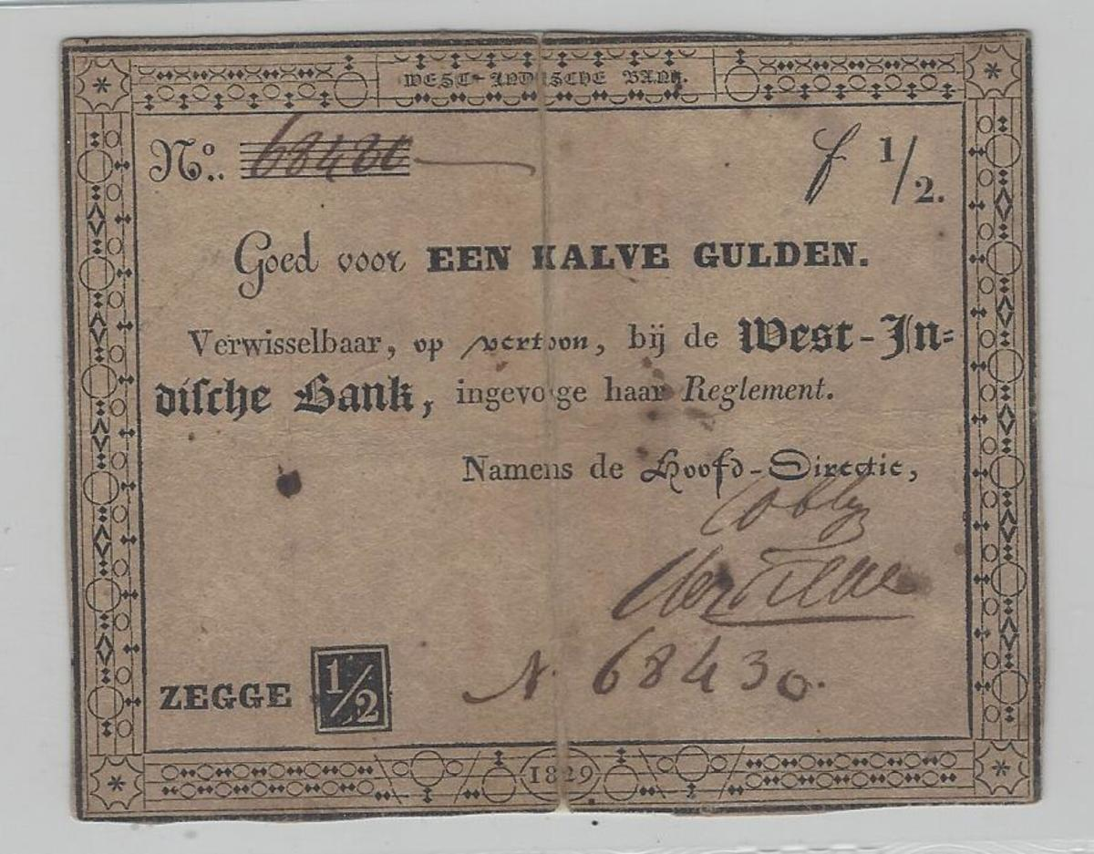 After only two years, the 1826 issue began to undergo replacement with notes from the Privat West Indische Bank. This example of the ½ gulden from the PWIB is dated 1829; it has some of the same characteristics as the previous issue.