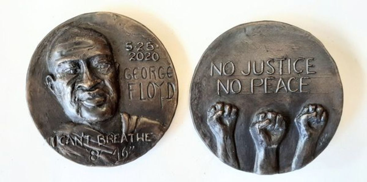 """Jeanne Stevens-Sollman's """"George Floyd, Black Lives Matter"""" medal has been named the 2021 American Medal of the Year. (All images courtesy American Medallic Sculptors Association.)"""