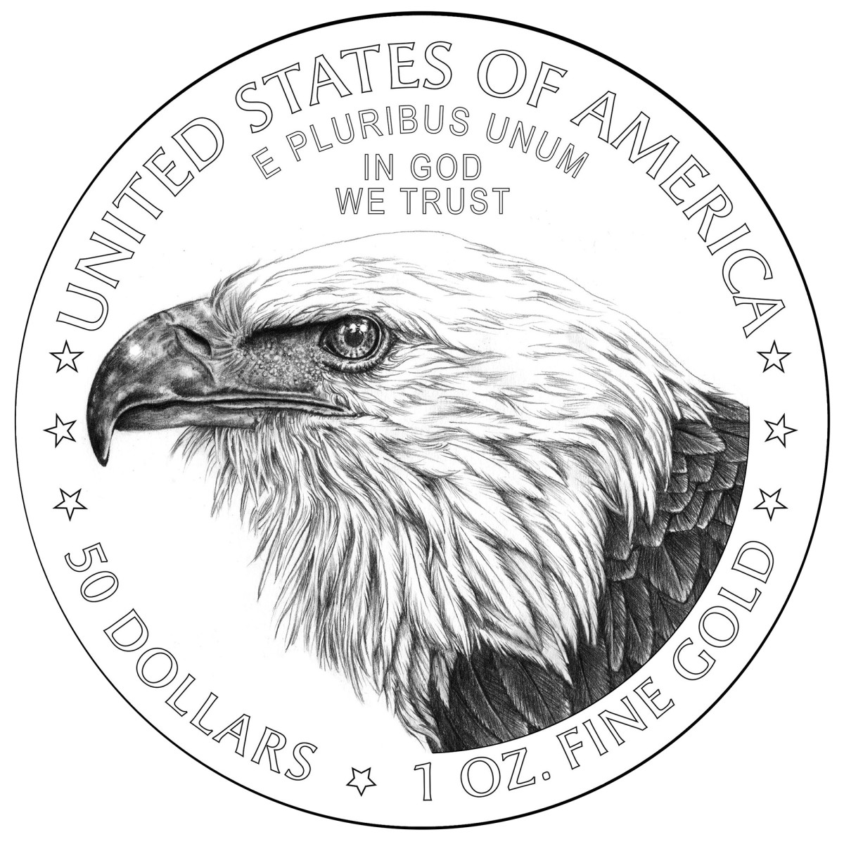 Line drawing of the new reverse design for 2021 gold American Eagle coins to be issued July 8, 2021. (Image courtesy U.S. Mint.)