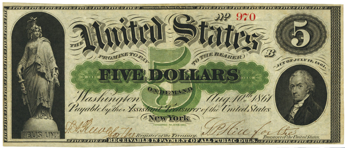 """$5 demand note with deputy-signed Treasury signatures where the deputies had to write """"for the"""" in front of the register and treasurer titles."""