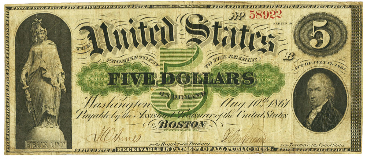 """$5 demand note with deputy-signed Treasury signatures with engraved """"for the"""" in front of the register and treasurer titles."""