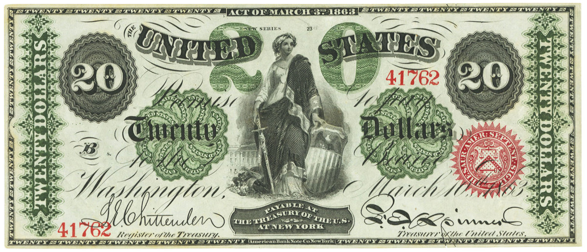 $20 1862-3 legal tender note with engraved Treasury signatures. A careful comparison between these signatures and their earlier overprinted counterparts reveal minor stylistic differences.