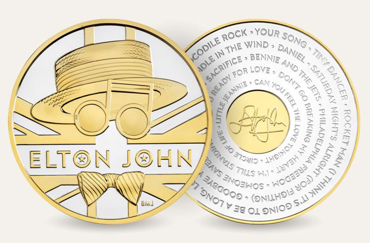 Elton John medallion. Image courtesy of the Royal Mint