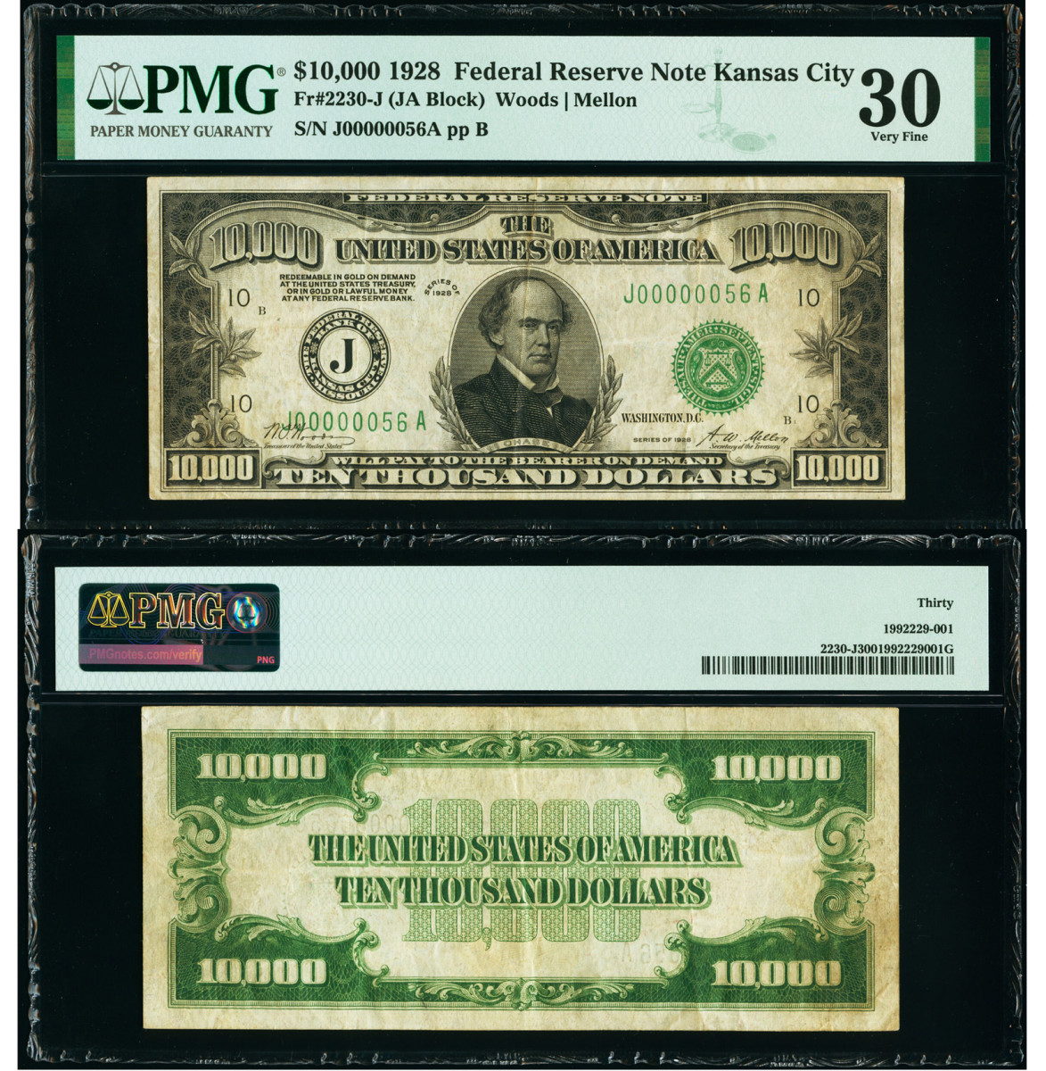 Kansas City District 1928 $10,000 Federal Reserve Note. (Images courtesy Heritage Auctions, HA.com.)