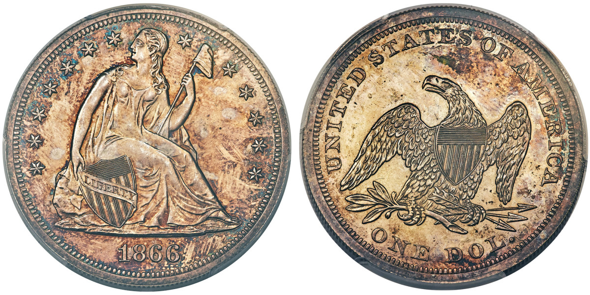 1866 No Motto Seated Liberty dollar. (Images courtesy Heritage Auctions, HA.com.)