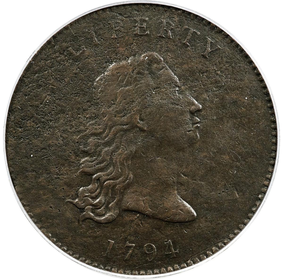 1794 No Stars Flowing Hair dollar prototype. (Image courtesy Heritage Auctions, HA.com.)