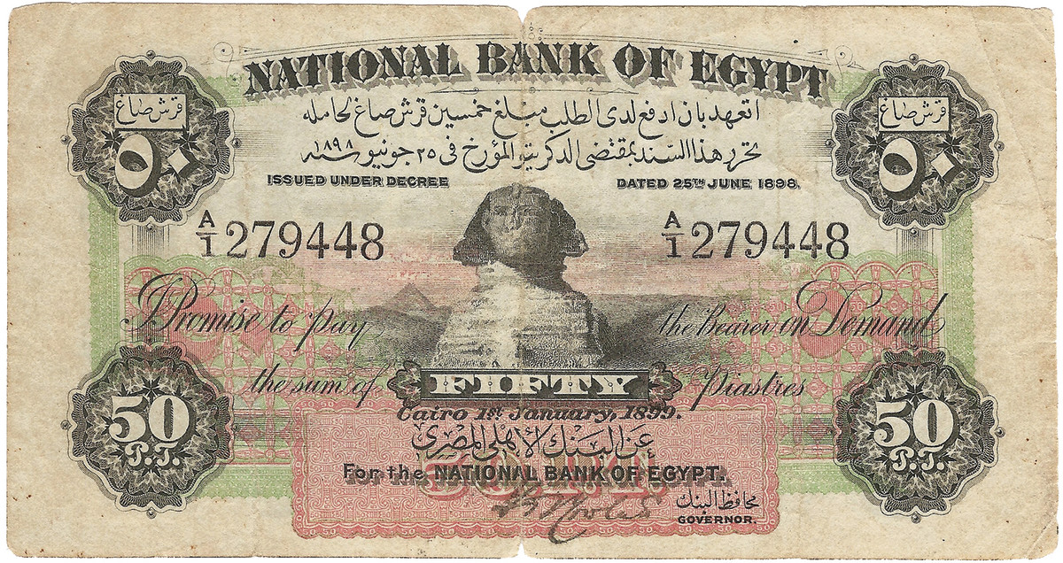 1899 National Bank of Egypt 50 piastres, P-1b, signed by Rowlatt