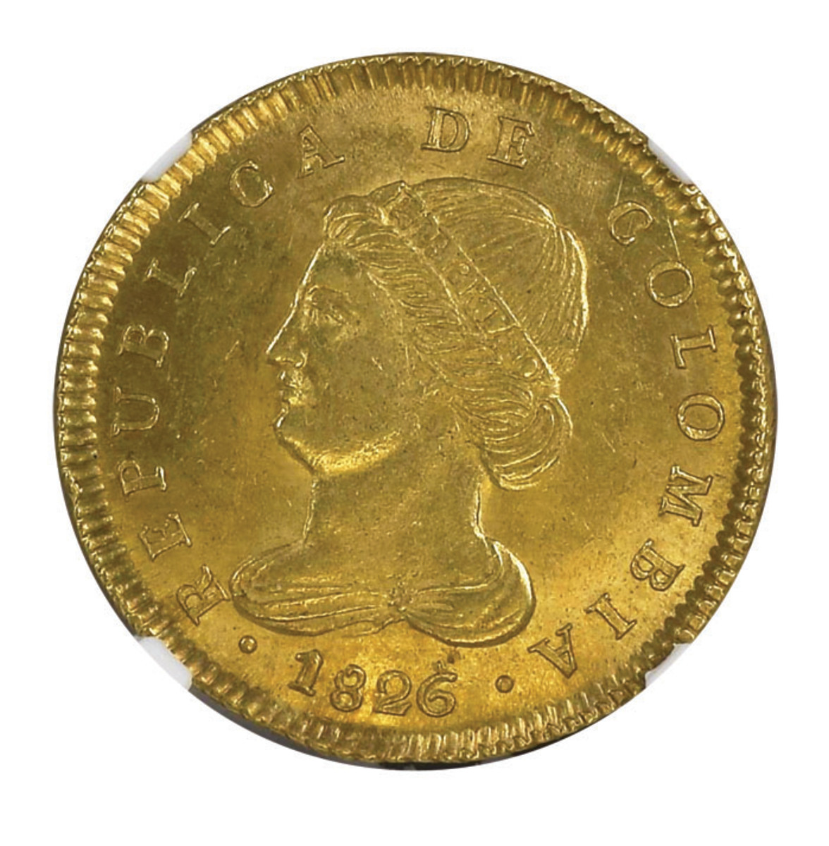 A single date type, one of the rarest Colombian gold coins, the 1826 JF 4 Escudos. Ex-Eliasberg, Ex-Lissner and by far the finest know example.