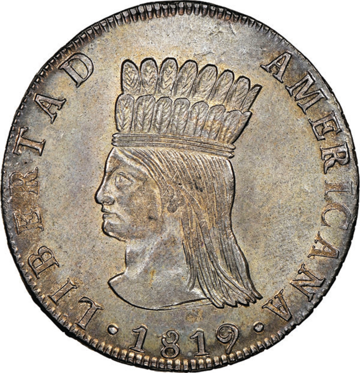 From the United Provinces of Nueva Granada comes this fantastically beautiful 8 reales of 1819 JF, the finest know by far at NGC MS64.