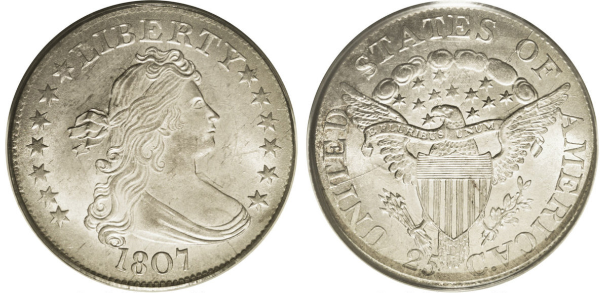 1807 Draped Bust quarter with a heraldic eagle reverse. (Courtesy of Heritage Auctions)