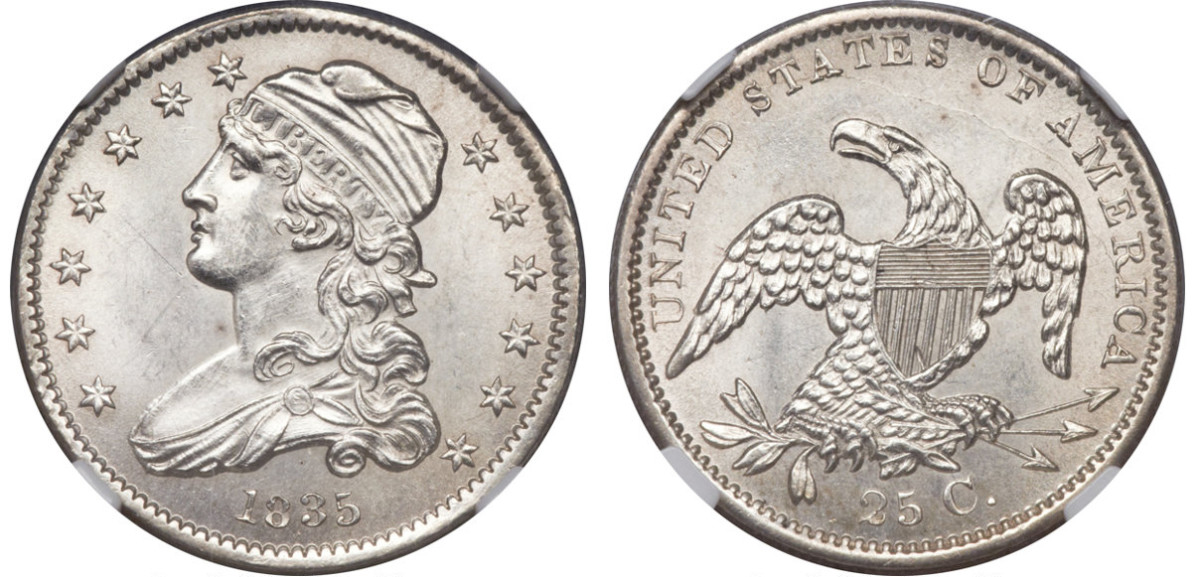 An 1818 and 1835 Capped Bust quarter. (Courtesy of Heritage Auctions)