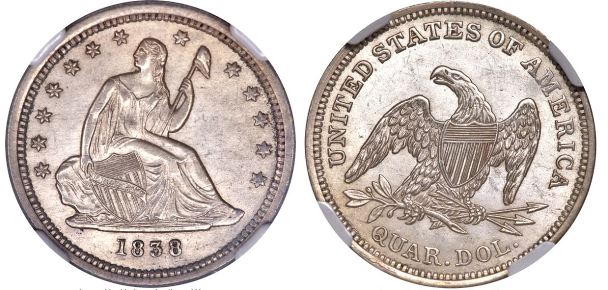 1838 was the first year the Seated Liberty design found its way onto the quarter. (Heritage Auctions)