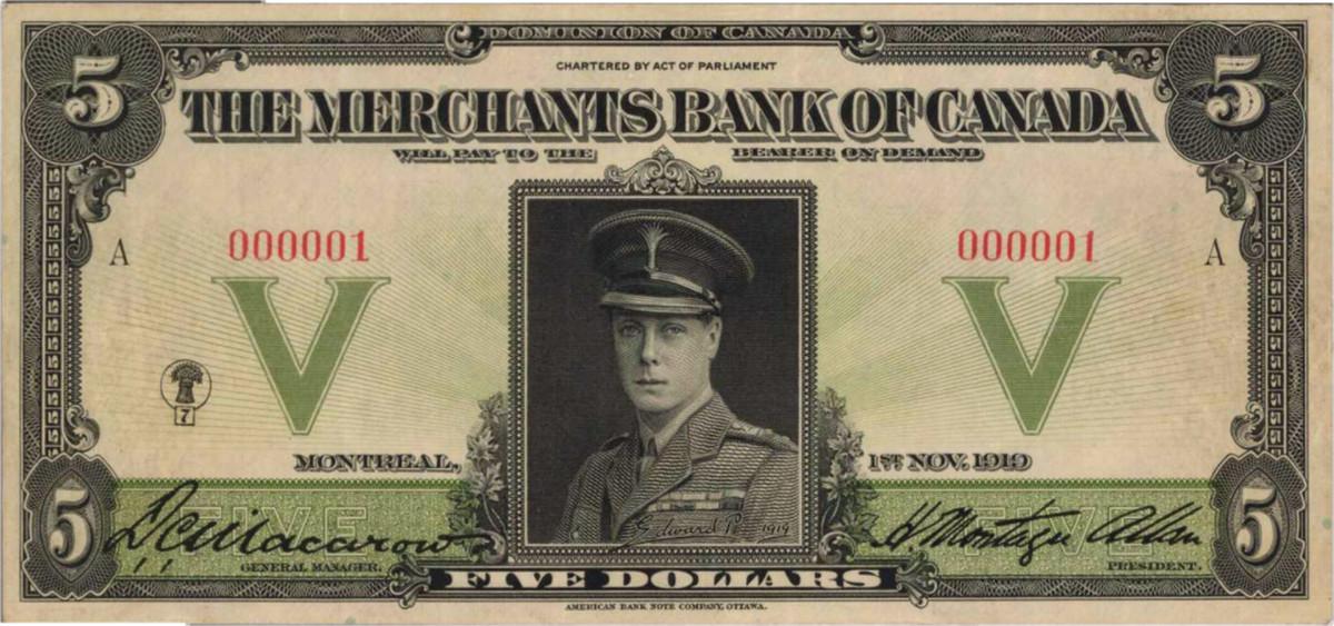 1919 Merchants Bank of Canada, Prince of Wales 5 Dollar