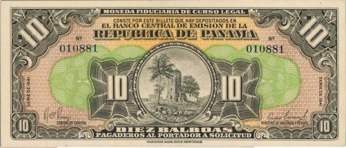 1941 Republica de Panama, 10 Balboas