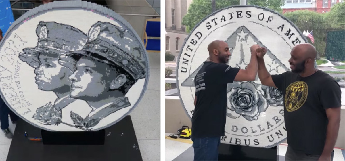Left: A large scale LEGO® replica of the $5 gold National Law Enforcement Memorial and Museum coin. Obverse shown. Right: LEGO® master builders Mel Brown and Jermaine Gardner and admire their work on the reverse side of the Law Enforcement $5 gold coin replica. (Video stills courtesy National Law Enforcement Officers Memorial Fund.)