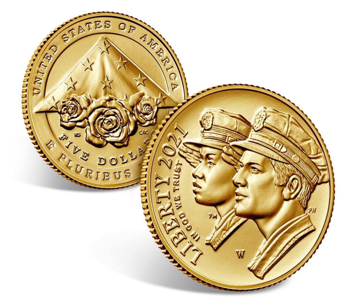 2021 $5 gold coin commemorating the National Law Enforcement Museum and Memorial. (Image courtesy U.S. Mint.)