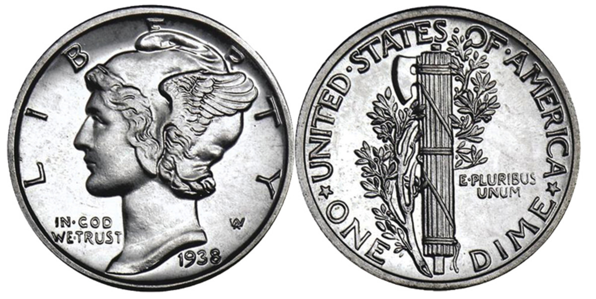 This 1938 Mercury dime illustrates the last year of peace before the start of World War II in 1939.