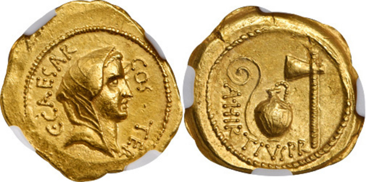 This stunning Roman Imperatorial Julius Caesar gold aureus was struck in 46 B.C. and looks just about as struck today at NGC Ch AU, strike:5/5 and Surface: 4/5.