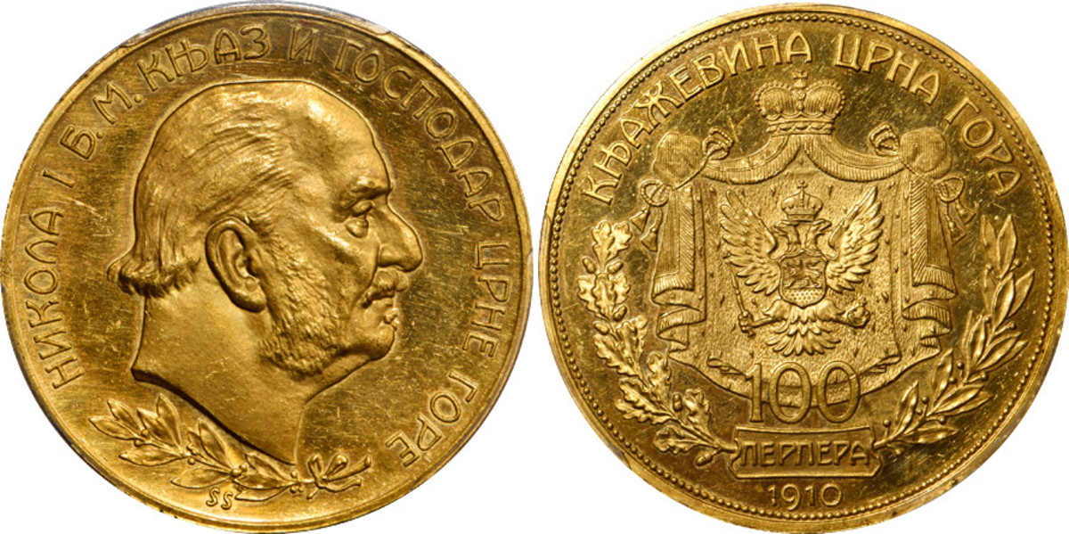 The rarest coin of Montenegro is this 1910 Nicholas I proof 100 Perpera, KM12. It was a product of the Vienna Mint with a mintage of only 25 pieces and this one grades PCGS Proof-62 cameo Gold Shield.
