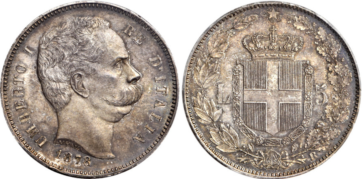 Of the 19th century unified Kingdom of Italy crowns there are a handful of very difficult coins to acquire in top condition. One of them is this Umberto I silver 5 lire of 1878 struck at the mint in Rome. Mintage for this date of the two year type was just 100,000 and at PCGS Proof-64 Gold Shield this example is well above most known pieces.