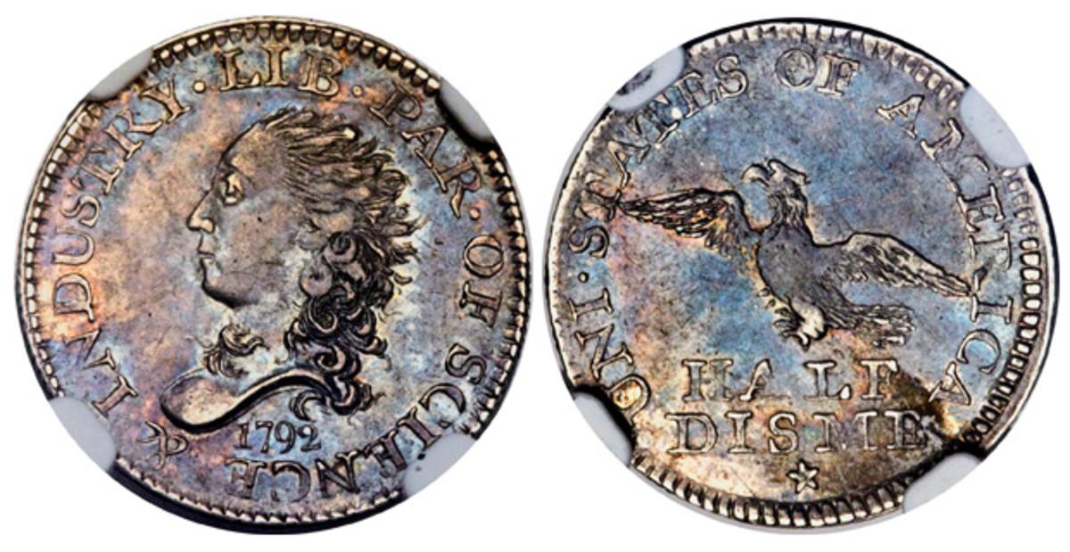 Judd-7 1792 half disme, graded NGC MS-63.
