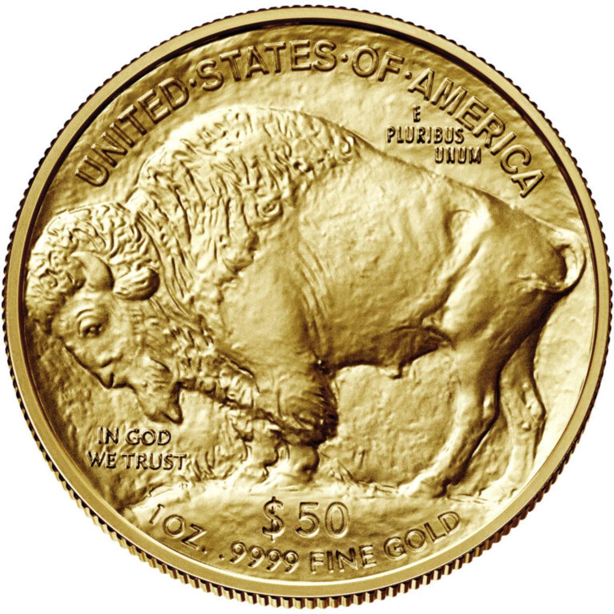 Gold bullion Buffalo coin. (Image courtesy U.S. Mint.)