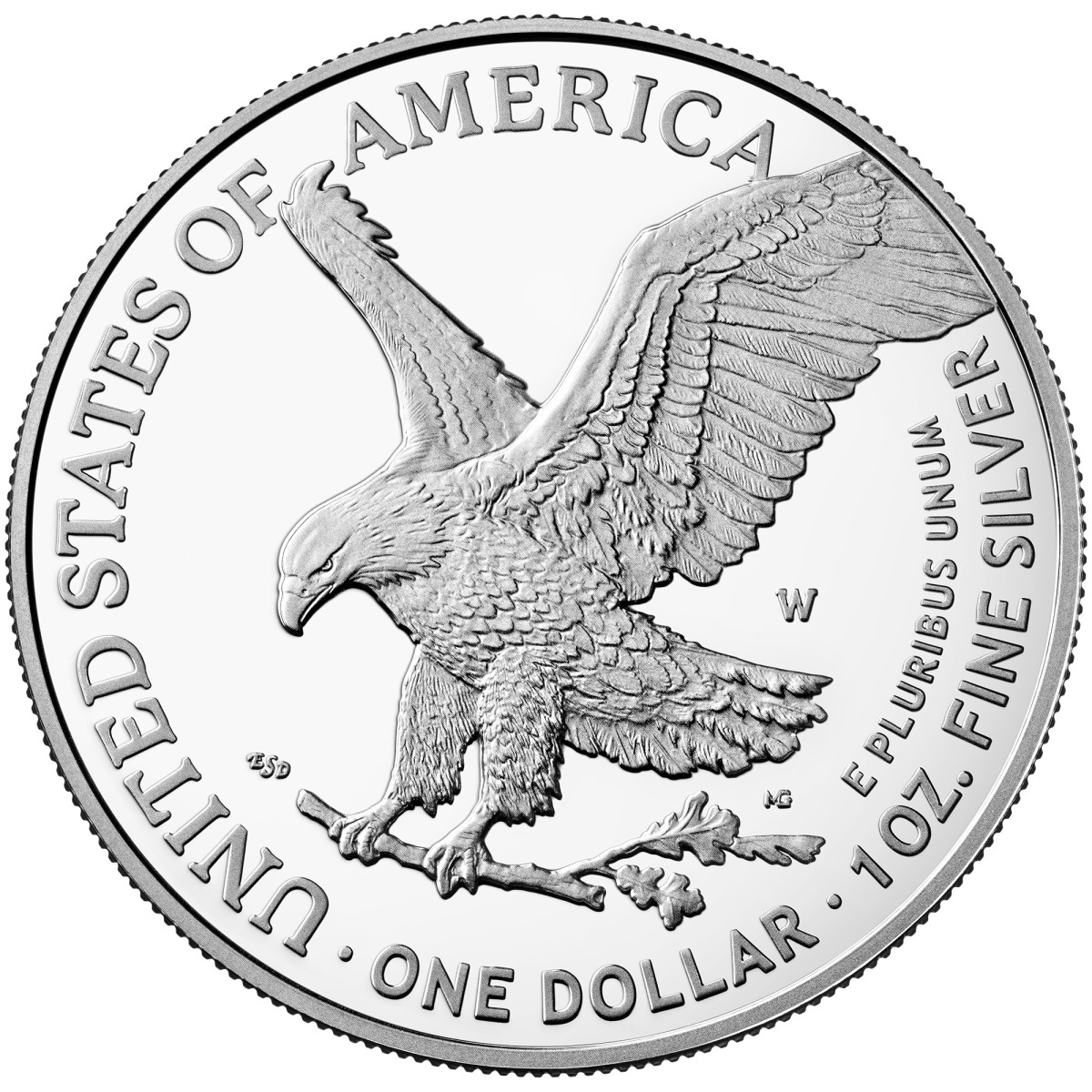 New 2021 reverse design of the silver American Eagle. (Image courtesy U.S. Mint.)