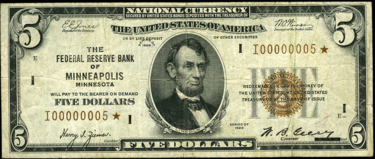 One of six 1929 $5 Minneapolis star notes