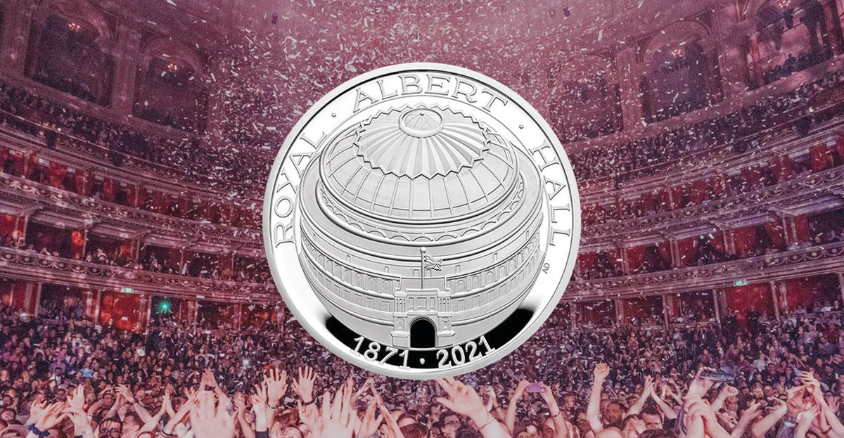 Home to great music, fabulous events and 150 years of celebration, the Royal Albert Hall's fabulous history is honored on the new Royal Mint £5 coin.
